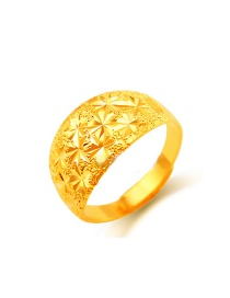 Fashion Gold Color Flower Pattern Decorated Simple Pure Color Ring