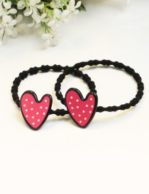Lovely Pink Heart Shape Decorated Pure Color Hair Band (2pcs)