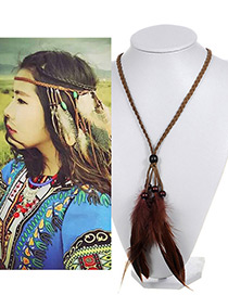 Vintage Coffee Feather Pendant Decorated Hand-woven Necklace