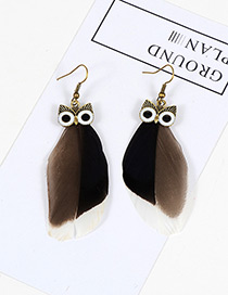 Vintage Black Owl Shape Design Simple Earrings