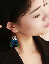Vintage Multi-color Owl Shape Design Simple Earrings