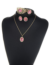 Fashion Pink Round Shape Diamond Decorated Simple Jewelry Sets