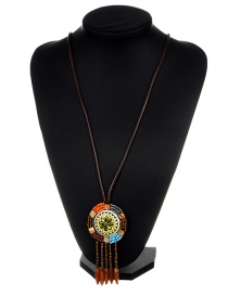 Bohemia Brown Round Shape Pendant Decorated Long Necklace