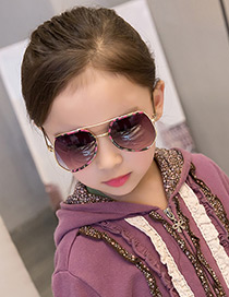Fashion Red Color Matching Decorated Anti-ultraviolet Children Sunglasses
