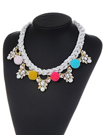 Fashion Multi-color Fuzzy Balls Decorared Color Matching Necklace