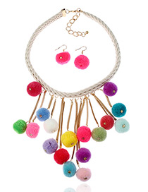 Fashion Multi-color Fuzzy Balls Decorated Color Matching Pom Jewelry Sets