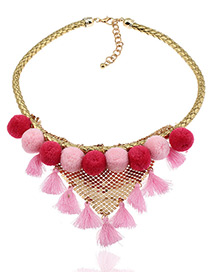 Fashion Pink Tassel&fuzzy Ball Decorated Color Matching Pom Necklace