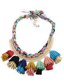 Fashion Multi-color Tassel Decorated Color Matching Simple Necklace