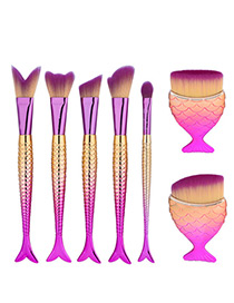 Trendy Gold Color+plum Red Color Matching Decorated Simple Mermaid Makeup Brush(7pcs)