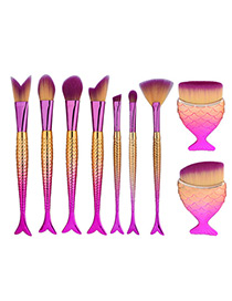 Trendy Gold Color+plum Red Color Matching Decorated Simple Mermaid Makeup Brush(9pcs)