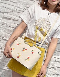 Fashion White Embroidery Cherry Decorated Simple Shoulder Bag