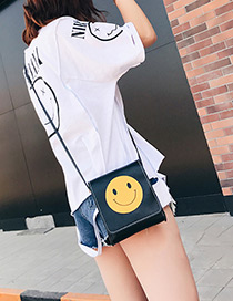 Fashion Black Smiling Face Pattern Decorated Shoulder Bag