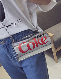 Fashion Silver Color Cans Shape Decorated Simple Shoulder Bag