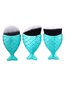 Trendy Blue Pure Color Decorated Mermaid Makeup Brush(3pcs)