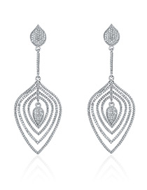 Fashion Silver Color Water Drop Diamond Decorated Hollow Out Earrings