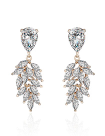 Fashion Gold Color Water Drop Diamond Decorated Pure Color Earrings