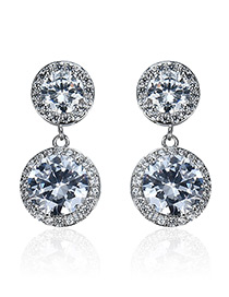 Fashion Silver Color Round Shape Diamond Decorated Pure Color Earrings