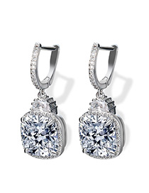 Fashion Silver Color Square Shape Diamond Decorated Pure Color Earring