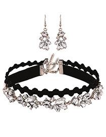 Fashion Black Diamond Decorated Double Layer Choker