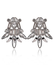 Exaggerated Silver Color Geometric Shape Diamond Decorated Pure Color Earrings