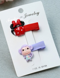Lovely Purple+red Monkey&cup Decorated Color Matching Hairpin