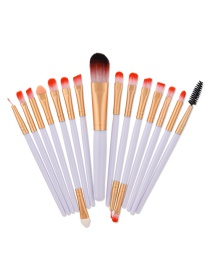 Fashion White Color Matching Decorated Makeup Brush(15pcs)
