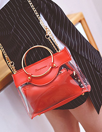 Fashion Red Circular Ring Decorated Pure Color Shoulder Bag(2pcs)