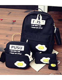 Fashion Black Eggs Pattern Decorated Simple Backpack (4pcs)