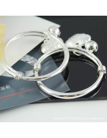 Fashion Silver Color Bell &round Lock Decorated Pure Color Bracelet