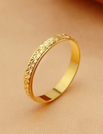 Fashion Gold Color Flowers Pattern Decorated Pure Color Ring
