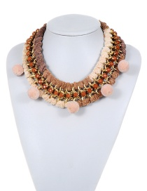 Fashion White +brown Fuzzy Balls Decorated Color Matching Pom Necklace