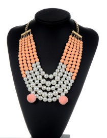 Fashion Pink Pearls&fuzzy Balls Decorated Multi-layer Pom Necklace