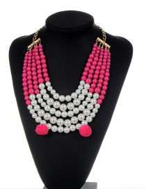 Fashion Plum Red Pearls&fuzzy Balls Decorated Multi-layer Pom Necklace