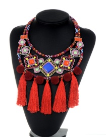 Fashion Red Tassel&fuzzy Ball Decorated Color Matching Pom Necklace