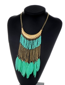 Fashion Green Feather&tassel Decorated Color Matching Necklace
