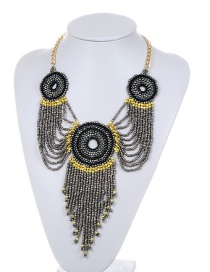 Fashion Gray Beads Decorated Long Tassel Design Necklace