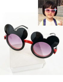 Fashion Black Mouse Shape Decorated Color Matching Sunglasses