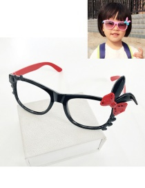 Fashion Red+black Rabbit Ears Decorated Color Matching Glasses