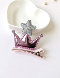 Fashion Pink Crown&star Shape Decorated Pure Color Hair Clip