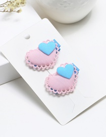 Fashion Pink Heart Shape Decorated Pure Color Hair Clip (2 Pcs)