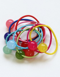 Fashion Multi-color Ball Shape Decortated Color Matching Hair Rope (10 Pcs)