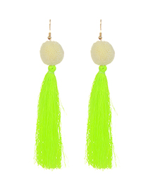 Fashion Light Green Long Tassel Decorated Pure Color Earrings