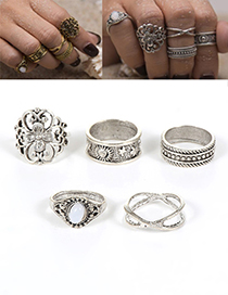 Fashion Silver Color Flower Decorated Hollow Out Ring (5pcs)