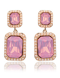 Exaggerated Pink Square Shape Gemstone Decorated Pure Color Earrings