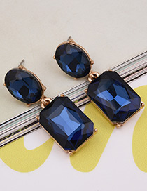 Exaggerated Dark Blue Square Shape Gemstone Decorated Pure Color Earrings