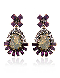 Fashion Purple Geometric Shape Diamond Decorated Color Matching Earrings