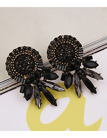 Fashion Black Oval Shape Gemstone Decorated Pure Color Earrings