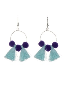 Fashion Light Blue Tassel&fuzzy Ball Decorated Simple Pom Earrings