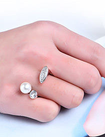Fashion Silver Color Pearl&diamond Decorated Opening Ring