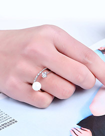 Fashion Silver Color Pure Color Decorated Double Layer Ring